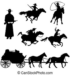 cowboys - Hand drawn silhouettes of cowboys and horses