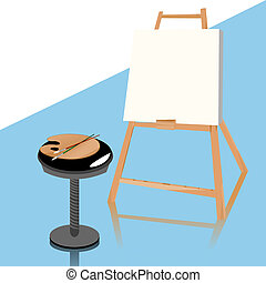 Easel - Painting studion accessories, grouped objects