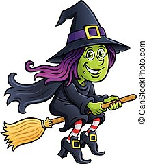 Girl Witch Riding A Broom - Cartoon illustration of a cute...