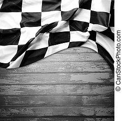 Checkered flag - Checkered black and white flag on boards....