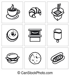 Vector Set of Street Fast Food Icons. Coffee, Croissant,...