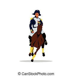 Vector French cavalry Cartoon Illustration. - Soldier on...