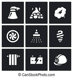 Vector Set of Thermal power plant Icons - Electricity...