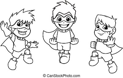 Kid Super Heroes Flying Pose Outline - Kid super heroes with...
