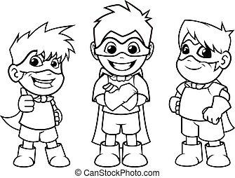 Kid Super Heroes Standing Pose Outline - Kid super heroes...