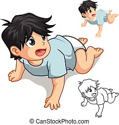 Baby Crawling - Baby crawling cartoon character include flat...