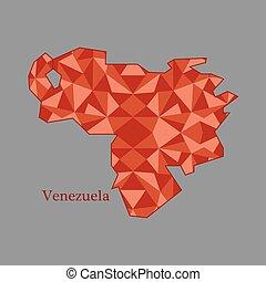 mapa,  venezuela, bajo, polígono