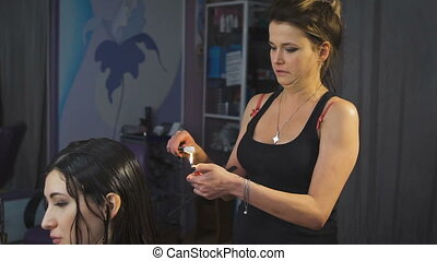 Beauty studio, for brunettes with long hair making process...