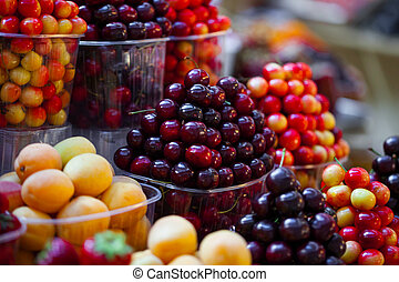 Baskets of berries in a market
