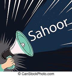 megaphone speaker alert for sahoor or sahur sketch drawing...