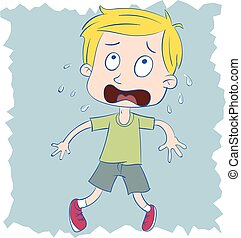 scared kid - cartoon scared kid standing against the wall