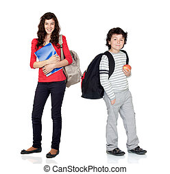 Students of different ages with a backpack and folder...