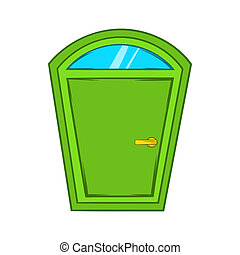 Green arched door icon, cartoon style