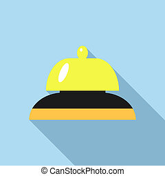 Golden reception bell icon, flat style