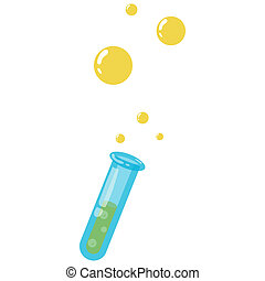 Test tube with bubbles icon, cartoon style - Test tube with...