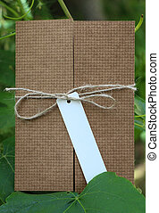 Parcel tied with white string with address label attached -...