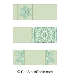 Horizontal banner templates with mandala pattern. Vintage...