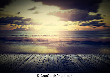 Wooden pier with blurred motion seascape - View from wooden...