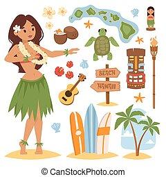 Hawaii vector set - Vector vintage set of hawaiian icons and...
