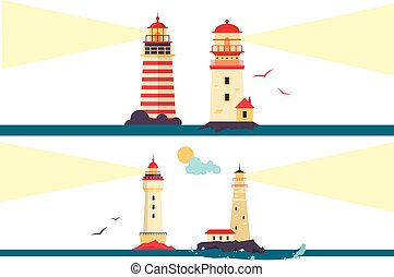 Vector set of lighthouses. Cartoon lighthouse with light beams. Design elements and icons in flat style isolated