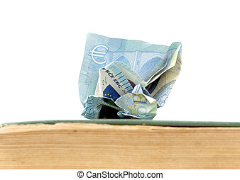 euro banknote od an old weathered book. education cost