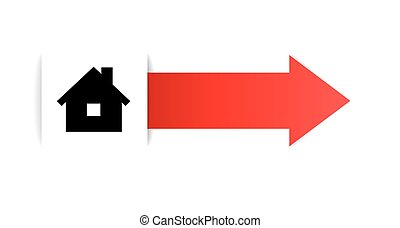 The tag with home icon - the illustration of house pictogram...