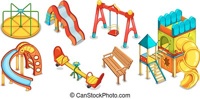 A set of illustrations of the playground Equipment for...