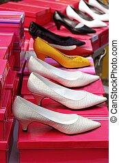 fashion woman heel shoes in a row - fashion woman heel shoes...