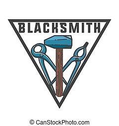 Color vintage Blacksmith emblem. Blacksmith theme- working...