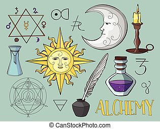 Set of trendy vector Alchemy symbols collection Vector...