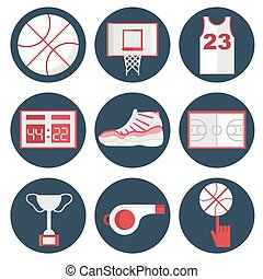 Basketball flat icons set. Modern infographic. Flat style....