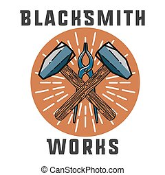 Color vintage Blacksmith emblem Blacksmith theme- working...