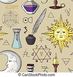 Alchemy symbols pattern Set of trendy symbols collection...