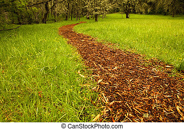 Bark path from a grass field leading to a grove of trees...