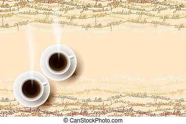 Abstract coffee design with text