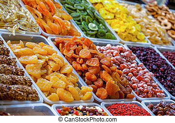 Dried fruits at bazaar