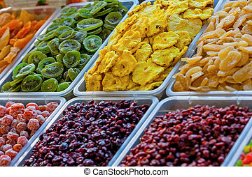 Assorted dried fruits at bazaar