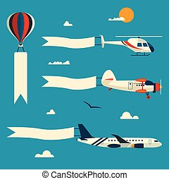 Vector set of flying balloon, helicopter, airplane and retro...