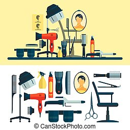 Vector set of hairdresser objects and tools isolated on white background. Hair salon equipment icons