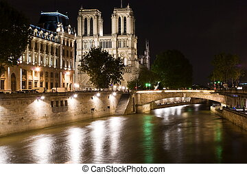 Notre-Dame de Paris by night - Notre-Dame Cathedral by nigth...