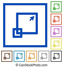 Maximize window framed flat icons - Set of color square...