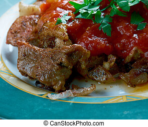 grilled meat with chili sauce