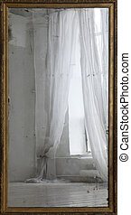 Old mirror - Reflection of a window with curtains in an old...