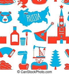 Russian symbols seamless pattern Russia national ornament...