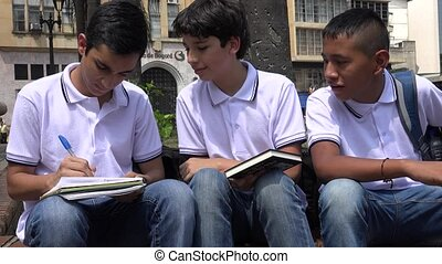 Teen Boys People Drawing Pictures