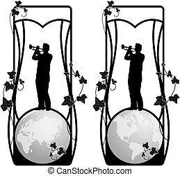 set of vector frame with trumpeter and globe - set of vector...