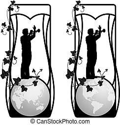 set of vector frame with trumpeter and ivy in black and...