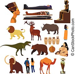 Vector set of Archaeological museum displays isolated on...