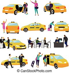 Vector set of Taxi service icons isolated on white background. People using yellow cab.