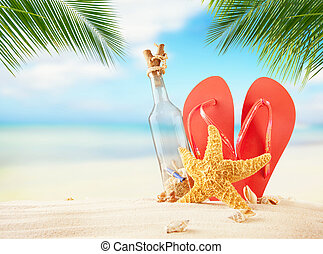 Summer beach with sandals and empty glass - Empty glass and...